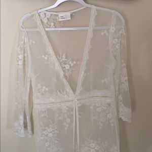 Mesh & lace see through cover up